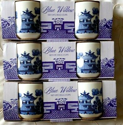 Six Blue And White Willow Print Egg Cups X 6 - BONE CHINA - BRAND NEW • 12£