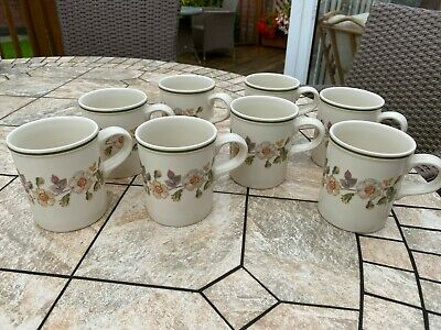 Set Of 8 M&S Autumn Leaves Mugs. Very Good Condition. • 3£