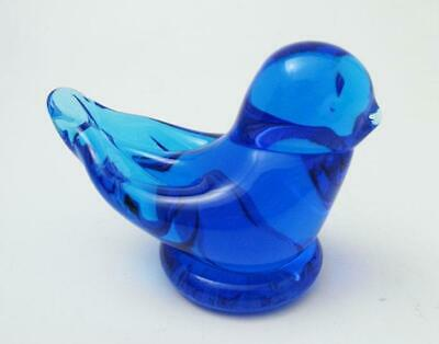 Signed Leo Ward Glass Blue Bird Of Happiness Terra Studios 2015 With Label • 32.23£