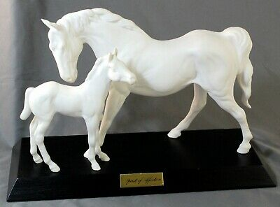 Royal Doulton Beswick Spirit Of Affection White Unglazed Horse And Foal Figure • 45£