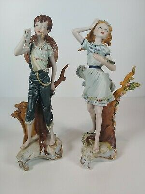 Pair Of Vintage Capodimonte Boy & Girl Figurine, Signed Jouili Appr.22cm Tall • 124£