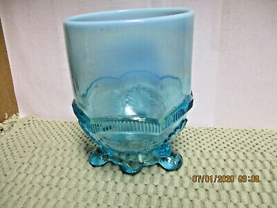 Vintage Fenton Art Glass Ice Blue Opalescent Compote Candy Dish Vase 6  • 14.44£