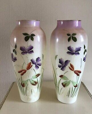 Pair Of Antique Glass Vases Painted Flowers • 20£