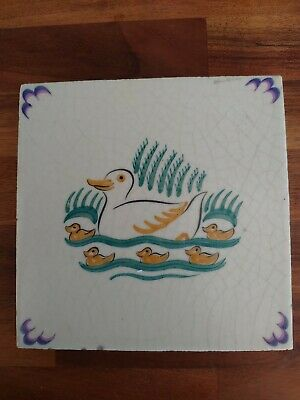 Poole Pottery Carters Nursery Tile Depicting Duck & Ducklings • 39.99£