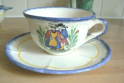 France Faience Large Tea Cup & Saucer Hand Painted Floral Breton Man & Woman • 4.50£