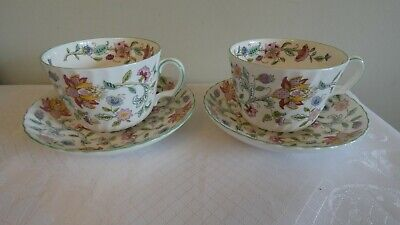 2 X Minton Haddon Hall Green Large Breakfast Cups & Saucers - 1st Quality  • 60£
