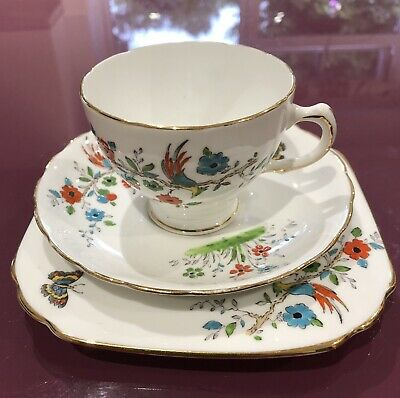 Plant Tuscan China Trio. Tea Cup, Saucer & Side Plate. • 0.99£