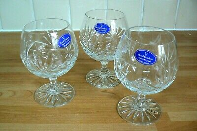 3 Royal Doulton Crystal  Brandy Glasses -  New With Label • 13.99£