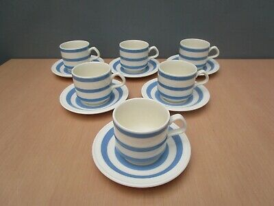 6 Carrigaline Pottery Ireland Blue And White Striped Cups And Saucers • 33£