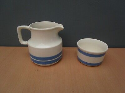 Carrigaline Pottery Ireland Blue And White Striped Jug And Sugar Bowl • 10£