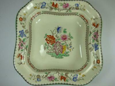 COPELAND SPODE - CHINESE ROSE- SQUARE FRUIT BOWL- GREEN RIM-9in • 6.99£