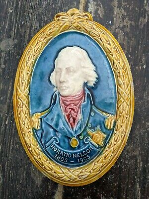 1905 Doulton Lambeth Art Pottery Admiral Horatio Lord Nelson Death Plaque, Royal • 23.88£