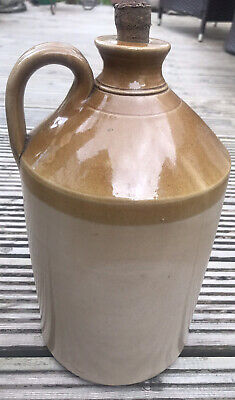 *Vintage* (Large) Glazed Stoneware Flagon With Cork In - No Makers Mark - VGC • 14.99£