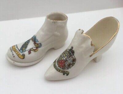Crested China Shoes - Crests Of Cleethorpes And Hanley • 0.99£