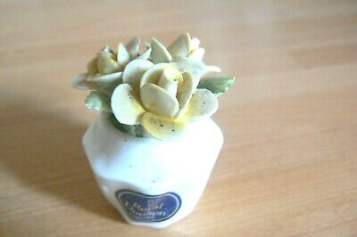 Vintage Royal Doulton Roses Small Miniature Flower Vase Yellow Roses • 1.50£