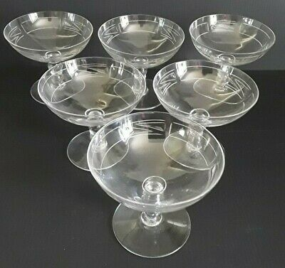 Daum - Nancy Crystal - 1945 - 1970 Etched Champagne/cocktail Saucers Set Of 6 • 220£