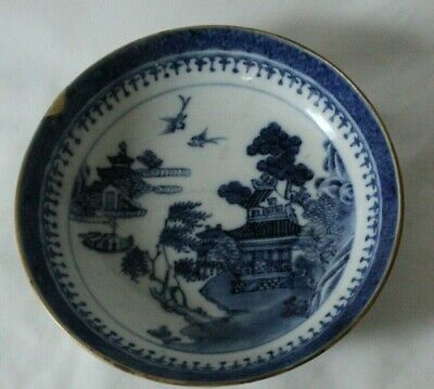 Charming Antique Probably Chinese Blue And White Saucer Bowl TEMPLE SCENE • 36£