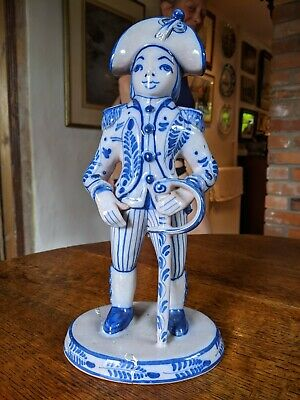Blue And White Rare Pottery Figure Of A French Soldier. 31cm High • 110£