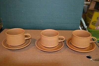 3 Purbeck Pottery Pairs Of Cups And Saucers • 3£