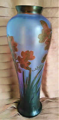 Galle Signed Vase Art Nouveau Inspired Blue Glass Acid Etched Embossed Cameo 14  • 381.41£