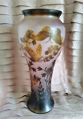 Galle Inspired Vase Art Nouveau Pink Glass Etched Embossed Cameo Butterflies 13  • 217.07£