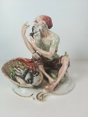 Large Capodimonte Italian Fisherman With Pipe Figurine, Appr.22cm Tall • 178£