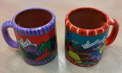 Talavera Large Coffee Mugs Colourful Mexican Pottery Hand Crafted Unused • 24.99£