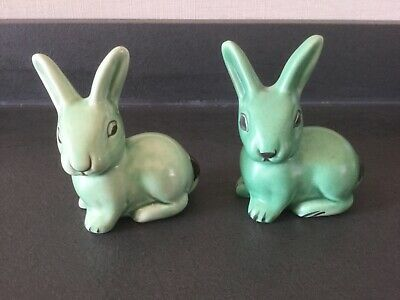 Green Pottery Figures Of Rabbits Art Deco Style ~ Denby - • 21.99£