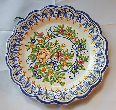 Vintage French Faience (Wall-Hung-to-Dining-Table) Plate. Hand-Painted Flowers • 10£