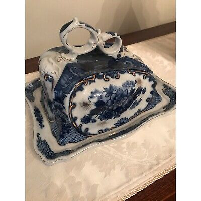 Victoria Ware Blue Ironstone Covered Cheese Dish Plate • 24.99£