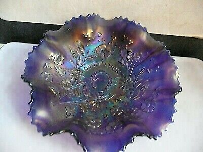 """Northwood Carnival Glass Bowl Good Luck 9 Inch """" • 22£"""