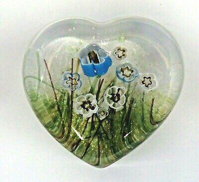Isle Of Wight Glass Heart Paperweight With Meadow Flowers • 0.99£