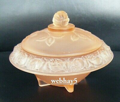 Walther & Sohne Art Glass Pink Frosted Glass Lidded Rosen Trinket Box • 9.99£