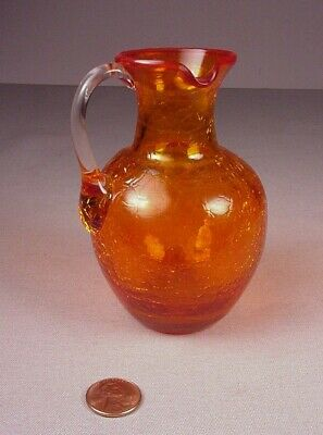 Vintage Orange Crackle Glass Mini Pitcher With Handle 4.5  Tall Great Coloring • 11.49£