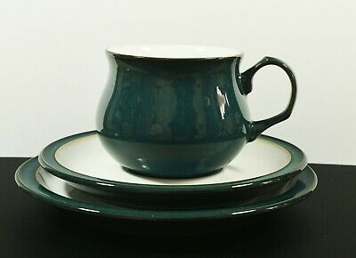 Unused Denby Greenwich Trio ~ Cup Saucer & Plate ~ Sea Green Colour • 9.99£