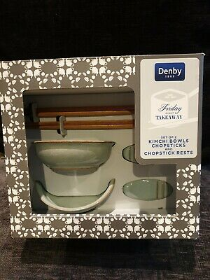 Denby Set Of 2 Kimchi Bowls Chopsticks And Chopstick Rests Brand New In Box. • 6.99£