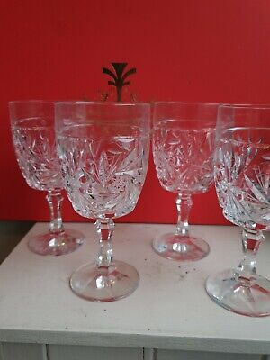 Four Excellent Quality Cut Glass Crystal Wine Glasses  • 5.50£