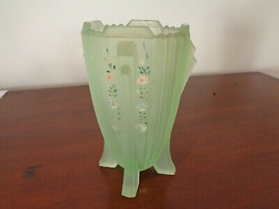 An Original Art Deco Handpainted Frosted Glass Vase Bagley? • 6.99£