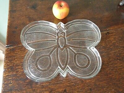 An Original Art Deco Glass Butterfly Tray / Dish - Bagley? • 7.99£