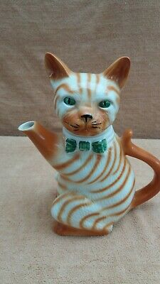Vintage Ginger Pussyfoot England Cat Collectors Novelty Teapot • 9£