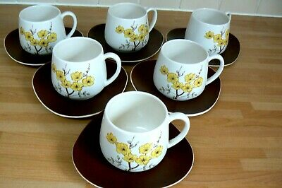 Carlton Ware Mimosa 6 Tea Cups And Saucers 1950s  • 5.50£