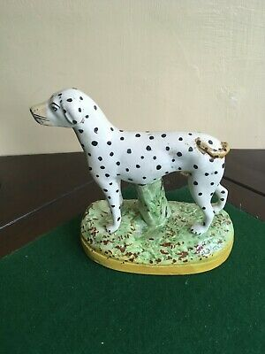 LOVELY OLD DECORATIVE COLOURFUL POTTERY DALMATIAN DOG FIGURE 6 Inches A/f • 6.50£