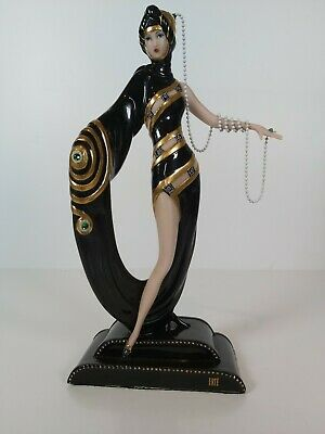 Franklint Mint House Of Erte Limited  Edit.  Pearls & Emeralds  Figurine , 25cm • 64£