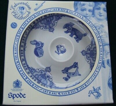 Spode Egg Cup Plate Edwardian Childhood Blue & White Ceramic Boxed Unused  • 9.99£