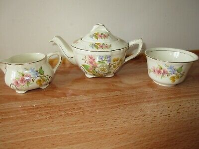 Vintage Alfred Meakin Floral Small Sugar Bowl & Cream Jug + Free Repaired Teapot • 5.99£