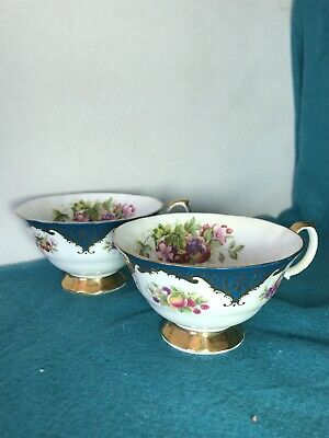 Queens China Staffordshire Pair Of Vintage Bone China Tea Cups • 20£