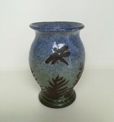 **vintage The Workshop Pottery Studio Vase Decorated With Dragonfly & Ferns**    • 0.99£