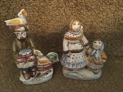 Russian Pottery Figurine Collection - Majolica Hand Painted - USSR Folk People • 36.46£