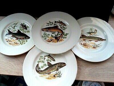 Vintage Maddock 4 Plates Fish Motifs Made England Kitchen Ware Pottery • 14£
