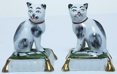 Antique Staffordshire Porcelain Pair Of Black & White Cat Figures 2.4  Tall • 40£